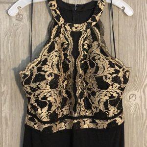 Elegant Black and Gold Formal Dress